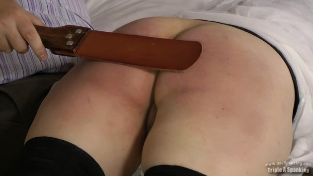 leather strap on the bare bottom