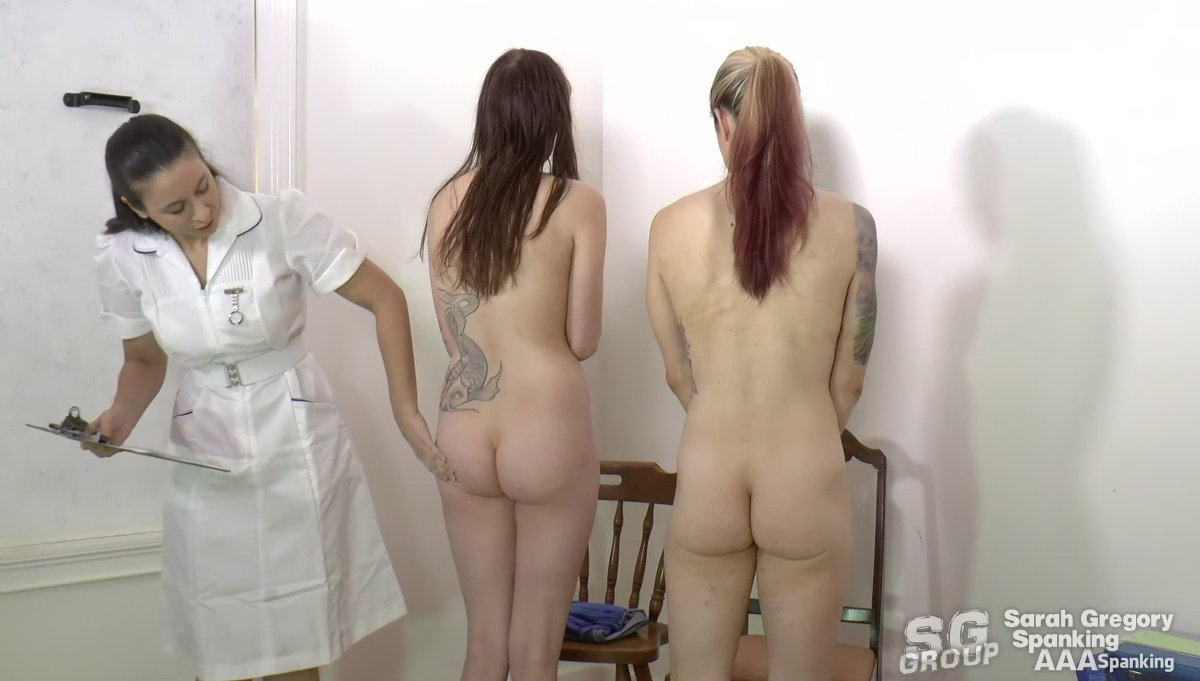 A bare bottom strapping in front of her friends 6