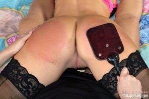 bare exposed ass and pussy spanking