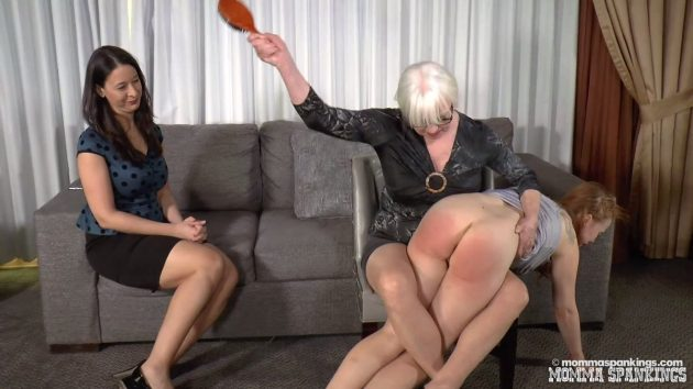 leg lock hairbrush spanking