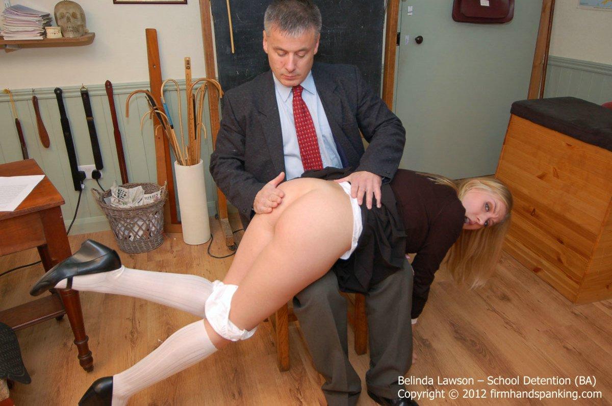 School girl spanked handjob