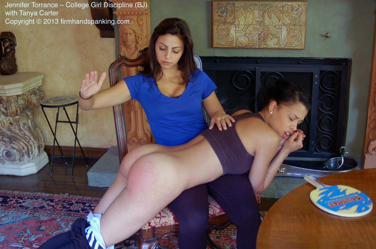 Charming boy college girls spanked