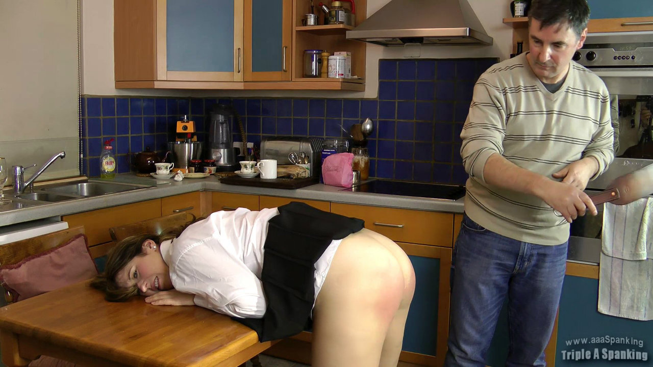 spread and spanked in the kitchen