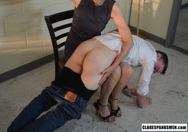 Clare spanking her man OTK