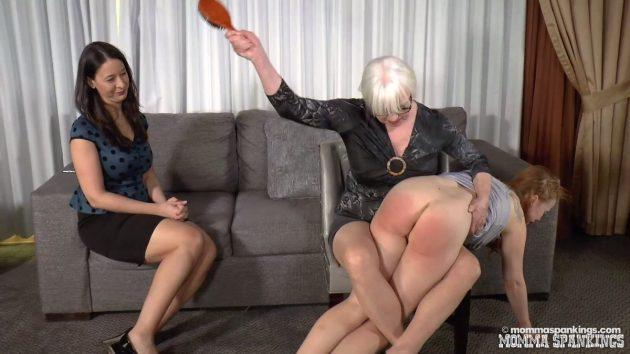 leg lock hairbrush spanking